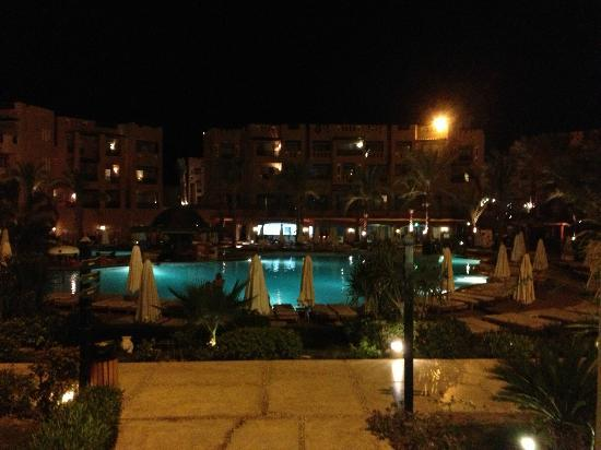 Rehana Sharm Resort: view at night from reception doors.