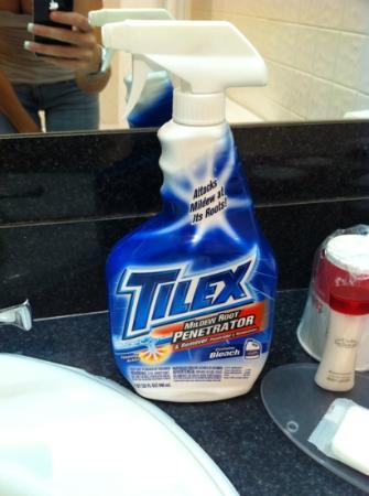 FairBridge Hotel & Conference Center East Hanover : the bottle of TILEX the front desk sent to clean my tub when we arrived with it filthy!
