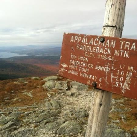 Saddleback Maine: Marker Sign at the Top of the Appalachain Mountain Trail