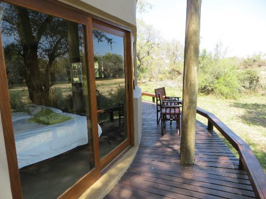 Simbavati River Lodge: The deck with view of second bedroom