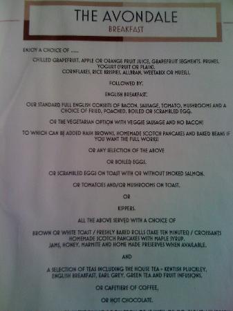 The Avondale: Breakfast menu