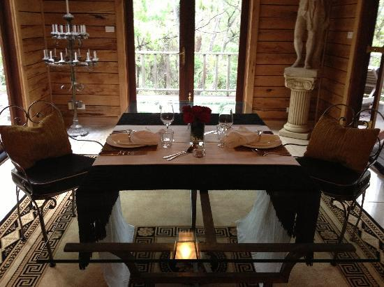 La Foret Enchantee: The table on arrival all ready for a candlelit dinner.