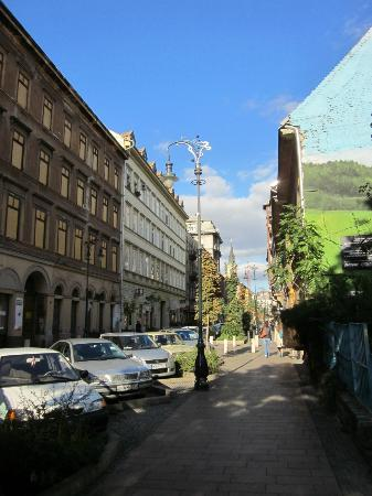 Town Hall Apartments: The Kiraly street and the playing ground
