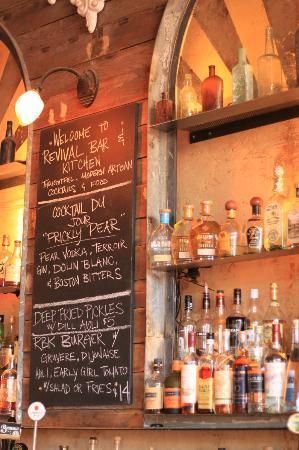 Revival Bar+Kitchen: Great bar selection, quality mixers, eclectic