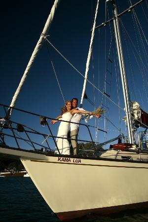 Kingfisher Yacht Charters : Marriage on the boat. Yes we do weddings, and take couples out into the bay to propose, and get
