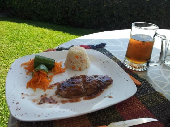 La Casa del Guamuchil: Comida en el hotel servida en la zona de la alberca, pescado en salsa de frambuesa.