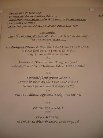 La Bergerie de Sarpoil : le menu