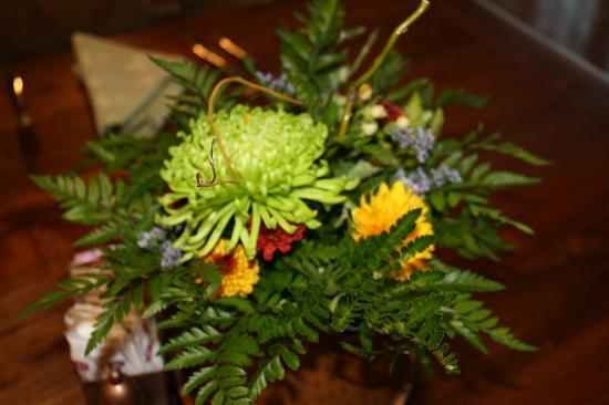 Dobyns Dining Room: Flowers on the table grown in their gardens.
