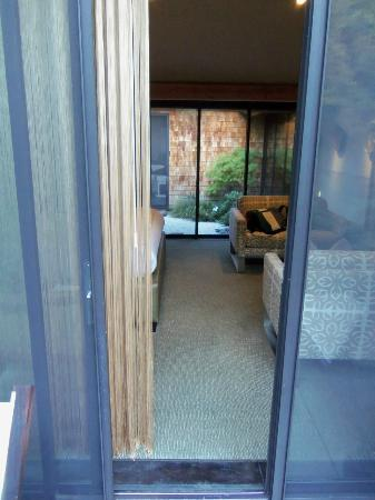 Gaige House + Ryokan, a Four Sisters Inn: from back porch thru room to zen garden