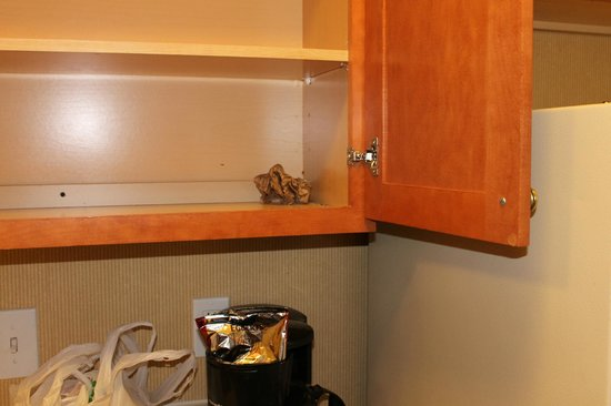Hawthorn Suites by Wyndham Columbus East: Dirty kitchen cabinet with ashes