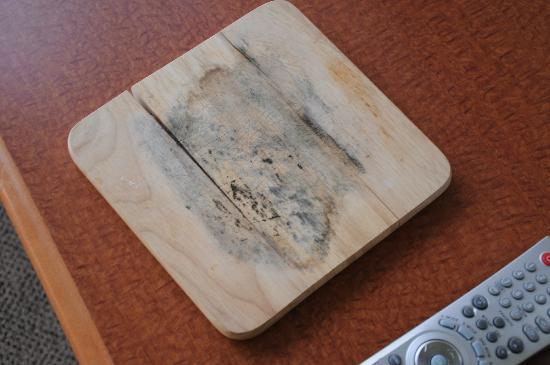 Lord Stanley Suites On The Park: Mildew and black mold on a cutting board!