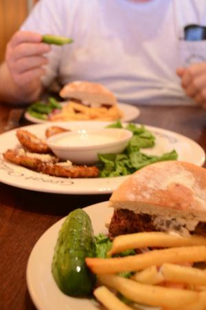 Great Outdoors Restaurant : Fried green tomatoes with ranch dressing; bison burger