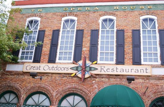 Great Outdoors Restaurant: Exterior of 1800's building; restaurant main floor, opera house above