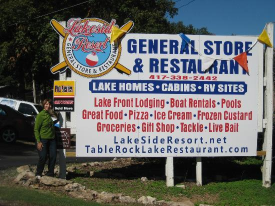 Lakeside Restaurant & General Store: Look for this sign to find the restaurant.