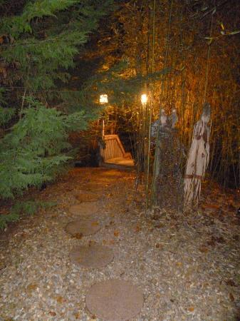 Nighttime view of the walkway to the cabin from the for Stone creek cabins