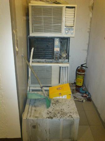 Verbena Hotel: This was right outside our room. Shouldn't these AC's have a separate place to be kept in?