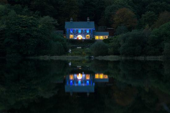 The Old Rectory on the lake at night