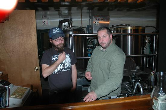 Blackwater Brewing Company : Jared Roy and Brewer/Owner Lincoln Wilkins in front of Brewing Tanks