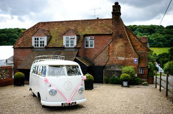 The Three Horseshoes Inn: Our wedding transport in the car park