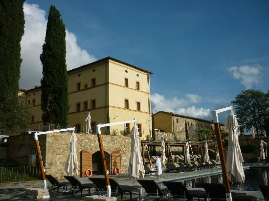 Castello di Casole Private Estate & Spa: Hotel from pool area