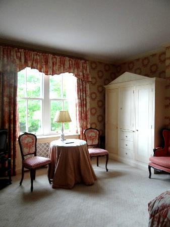 This is the view of the sitting area in the Trinity room at Cotswold Lodge Hotel.