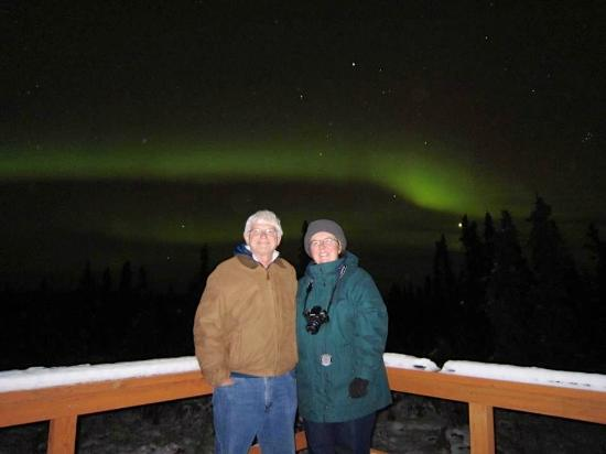 Aurora Borealis Lodge: On the deck on the 2nd night