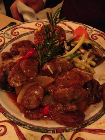 Tatiana's Restaurant: I believe this was steak and sausage...