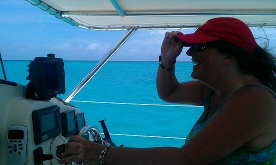 Tropical Catamaran Sailing Day Tours: Kaz takes the helm (under Jim supervision!)