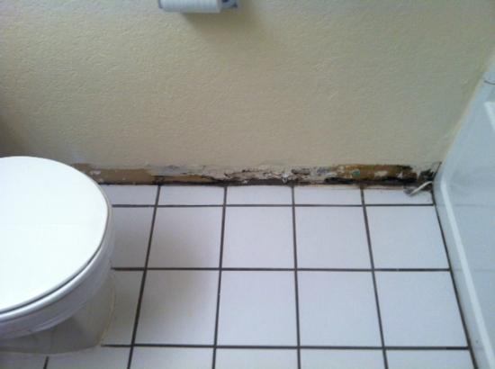 Super 8 Cheyenne WY: Baseboard near tub and toilet