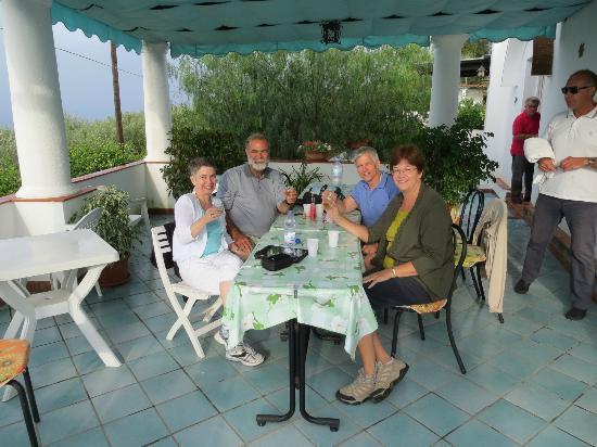 Da Carlo a Veterino: Enjoying a toast with the liquor Carlo gave us!