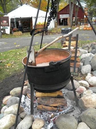 Amish Acres: Making the apple butter that they sell in their shops.