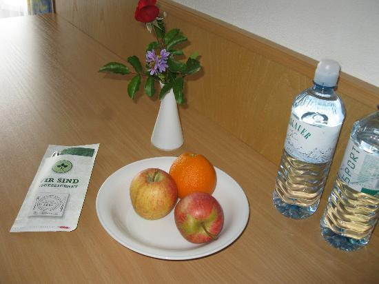 Hotel Sonnhof: Flowers, water and fresh fruit in room