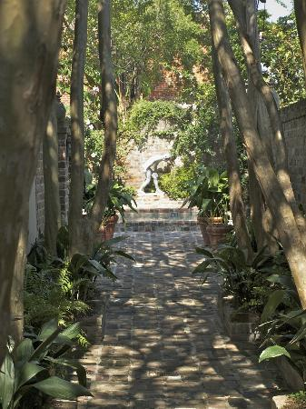 Audubon Cottages: The walkway from street to cottages is lined with crepe myrtles.