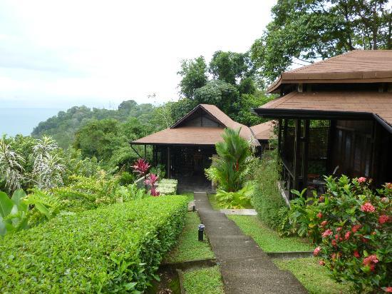 TikiVillas Rainforest Lodge & Spa: The clubhouse, coming from our villa