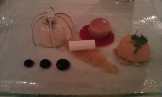 Ston Easton Park Hotel: Dinner: Dessert: Pina Colada Coconut Pannacotta with dark rum baba and pineapple compote