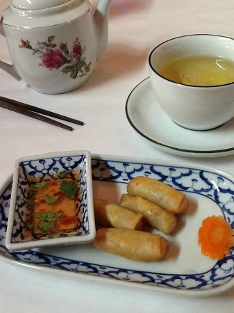 Thai Rolls and tea at the Blue Orchid