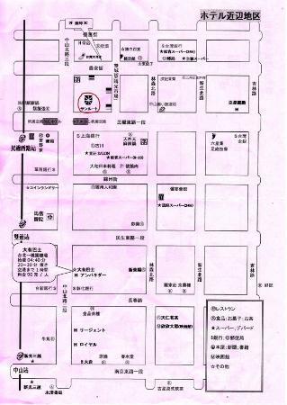 Sunroute Hotel: ホテル周辺地図(サンルート台北の配布地図)