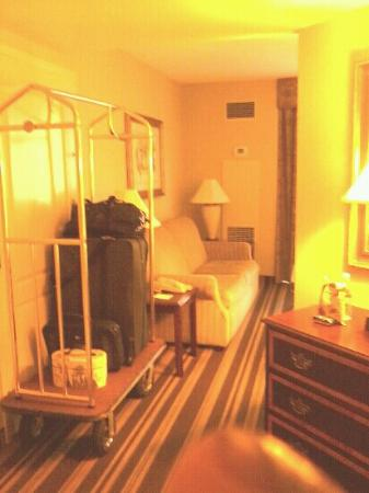 Hampton Inn & Suites Memphis - Beale Street: room still wraps around the corner to the bath