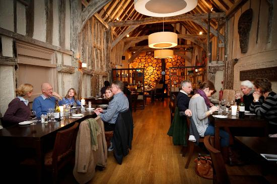 The Eight Bells: The stunning barn dining area