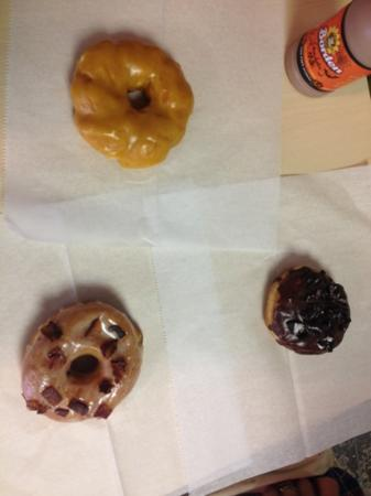 Glazed Gourmet Doughnuts: pumpkin knots, maple and bacon, and cookies and cream. All amazing!!!