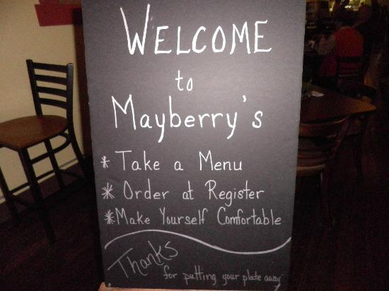 Mayberry's: Menu sign!
