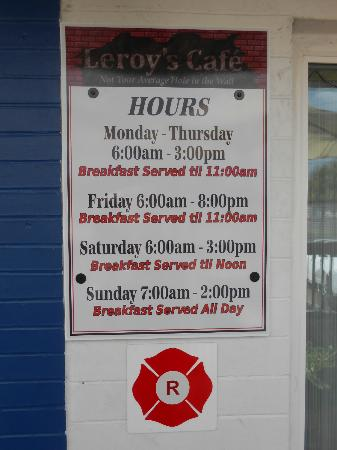 Leroy's Cafe: Opening Hours