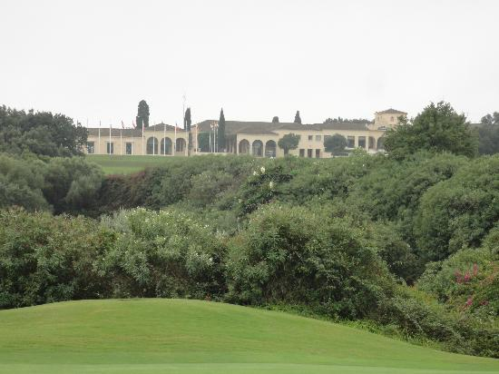 Real Club Valderrama: view of the clubhouse from the course
