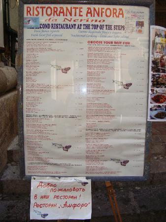 Ristorante Anfora: Меню ресторана