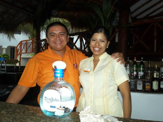 Hidden Beach Resort by Karisma: Carlos the daytime bartender and Nancy the hostess