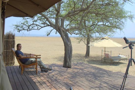 Singita Sabora Tented Camp: on the deck of our tent