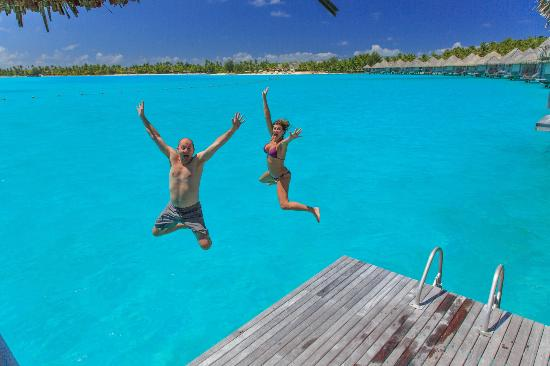 The St. Regis Bora Bora Resort: Jumping off our private dock into the most beautiful water!
