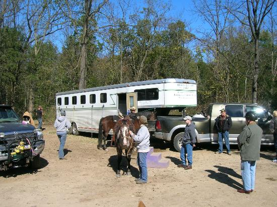 Hickory Hollow Horse Farm: Pam holding Ragedy Ann as my husband waits to mount.