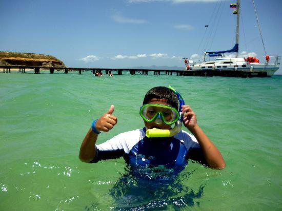 Isla Cubagua: Mi hijo haciendo snorkel