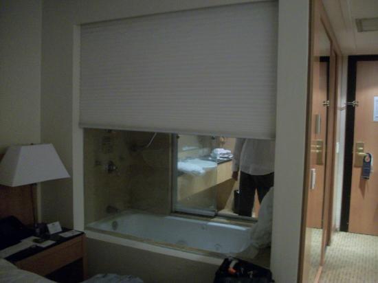 Eurobuilding Hotel and Suites Caracas: Persiana integra la sala de baño a la habitación